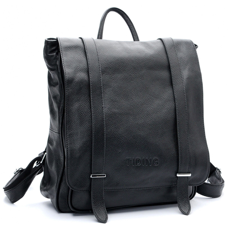 TIDING Men Genuine Leather Style Backpack Casual Student Carry On Black Bags For Teens Fashion Leisure 3057