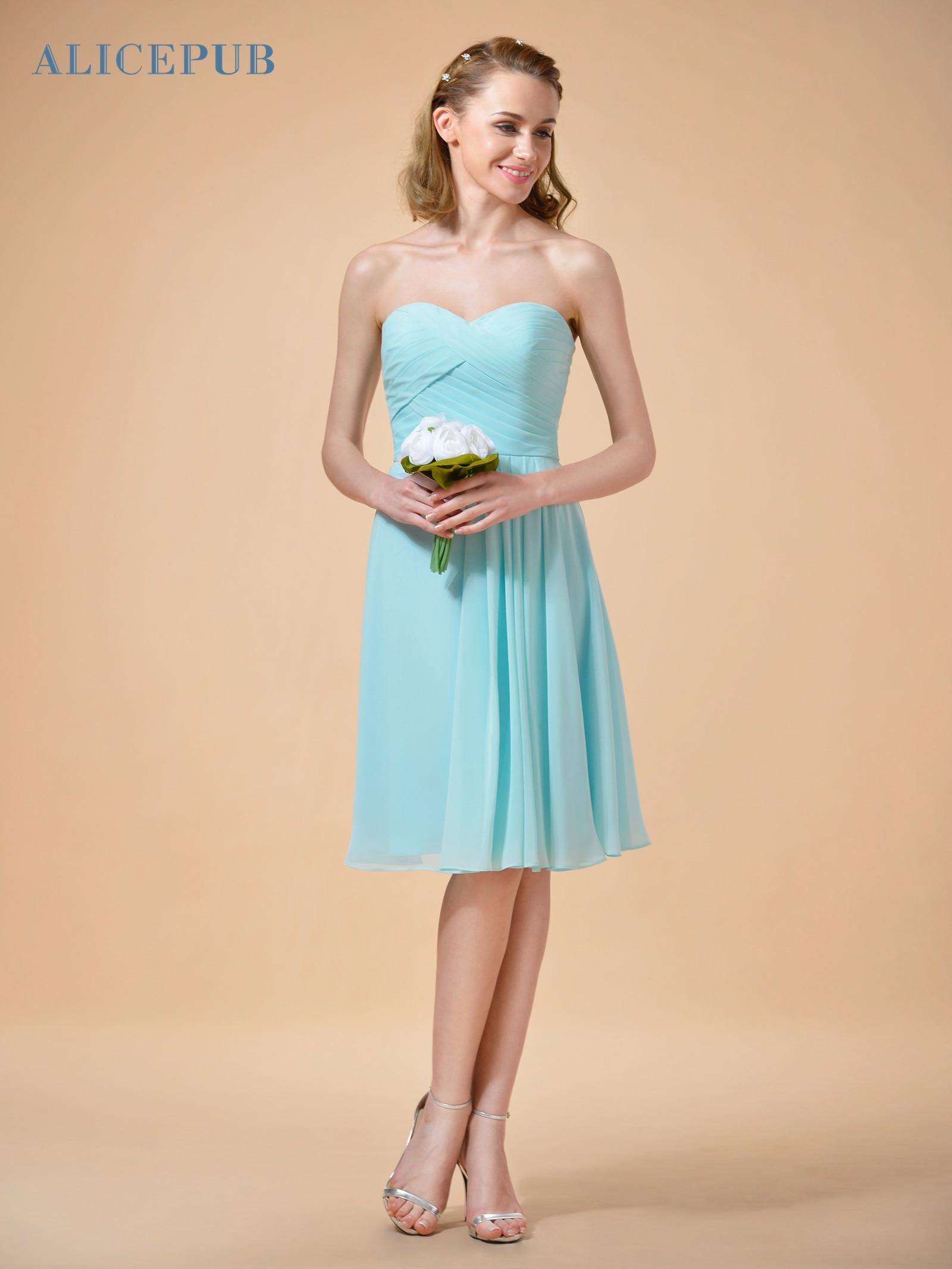 Alicepub Chiffon Bridesmaid Dresses Short Strapless Wedding Prom ...