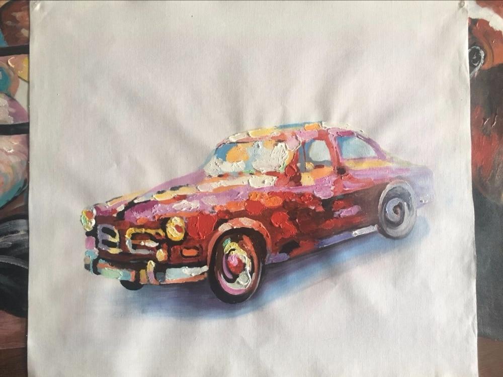 Handgeschilderde kleurrijke auto olieverfschilderij wall art foto