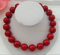 Hot sale Free Shipping>>>>New Huge 20mm red coral lady's party jewelry birthday necklace 18