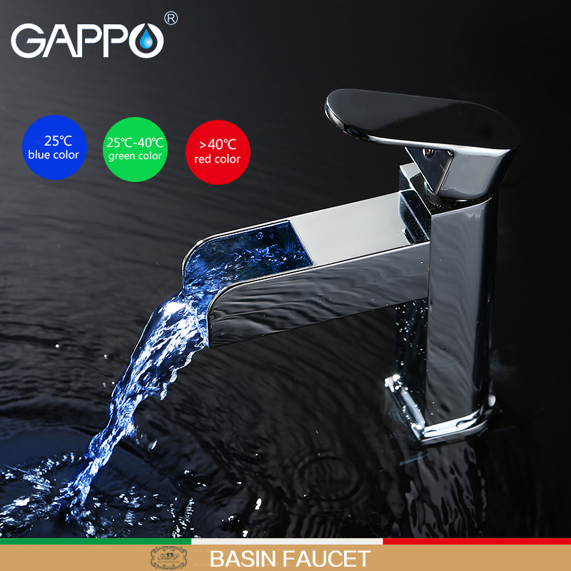 GAPPO kitchen faucet waterfall kitchen Sink mixer tap LED temperature Water Power sink tap Deck Mount kitchen faucet mixer chrome kitchen sink faucet solid brass spring two spouts deck mount kitchen mixer tap