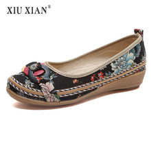 2018 Original Design Ethnic Weave Cloth Women Flats Thick Bottom Non Slip Comfort Mother Shoes Fashion Lady Big Size Casual Shoe