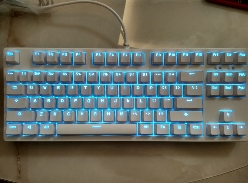 87 keys cherry mx clear switch mechanical keyboard TKL PBT ice blue LED keycap tenkeyless gaming keyboard game keyboard
