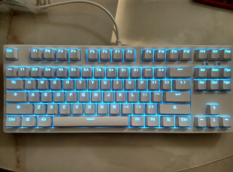 87 Keys Cherry Mx Clear Switch Mechanical Keyboard TKL PBT Ice Blue LED Keycap Tenkeyless Gaming