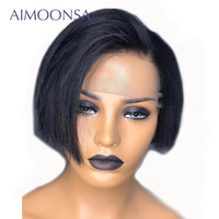 Short Bob Human Hair Wigs Pixie Cut Bob Lace Front Wigs For Black Women Aimoonsa Hair Preplucled Lace Wigs