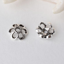 Solid 925 Sterling Silver flower Bead Caps ,Thai Silver Flower Spacer Beads Findings for Jewelry(China)