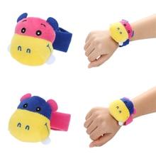 1pcs Cartoon Animal Baby Toy Infant Cute Plush Handbells Soft Hand Wrist Strap Rattles Kid Developmental Toy