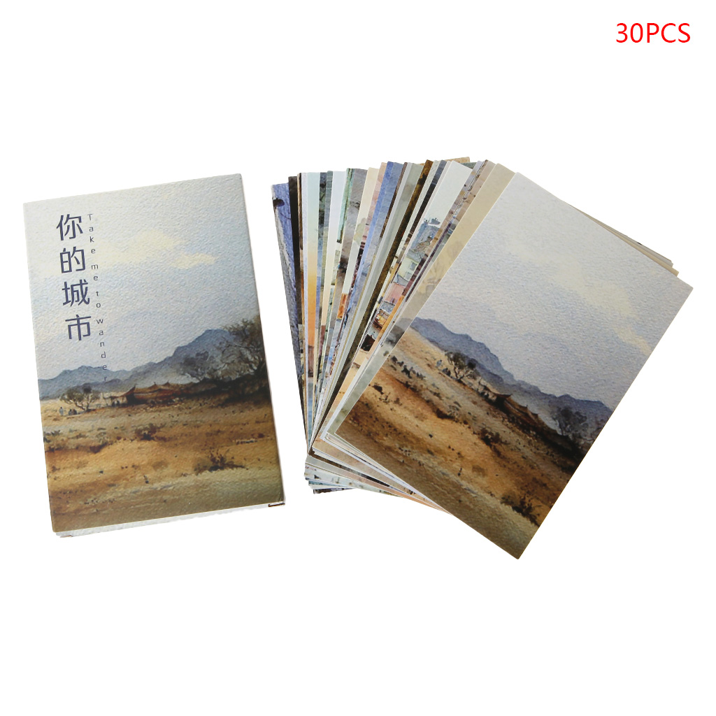 30 Sheets Your City Paintings Retro Vintage Postcard Christmas Gift Card Wish Poster Cards