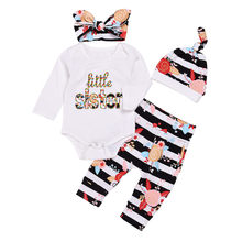 CANIS Newborn Baby Girl Clothes Print Striped Jumpsuit Bodysuit Tops Long Sleeve Pants Headbands Hat 4pcs Bebe Girls Set Cotton(China)