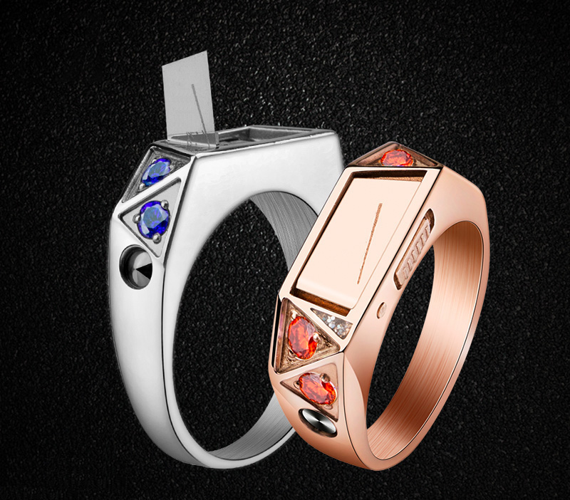 Titanium steel body Self Defense guard ring inlay diamond personality invisible knife ring concealed weapon female artifact