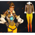 OW Tracer Cosplay Costumes Hero Lena Oxton Battle Suit Brown Jacket Yellow Pants Halloween Costumes for Women Men