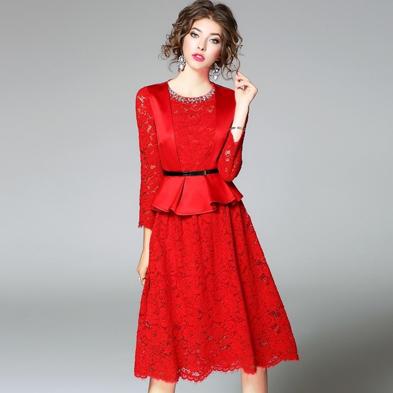 Européenne Strass Dans Femmes Évider Dentelle Soluble Robes Robe De Automne Printemps Vêtements 2017 L'eau Casual Rouge Nouvelles Féminine Ceinture Mince 8nwk0OP