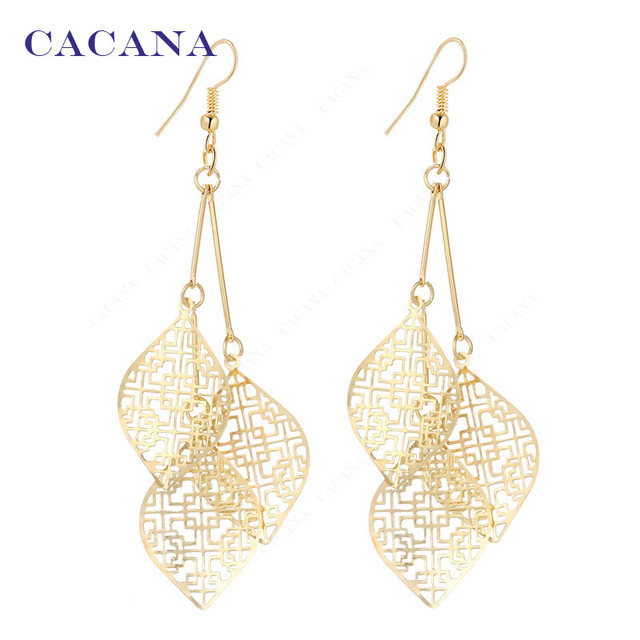 CACANA Dangle Long Earrings With 3 Same Hollow Leaves For Women Bijouterie Hot S