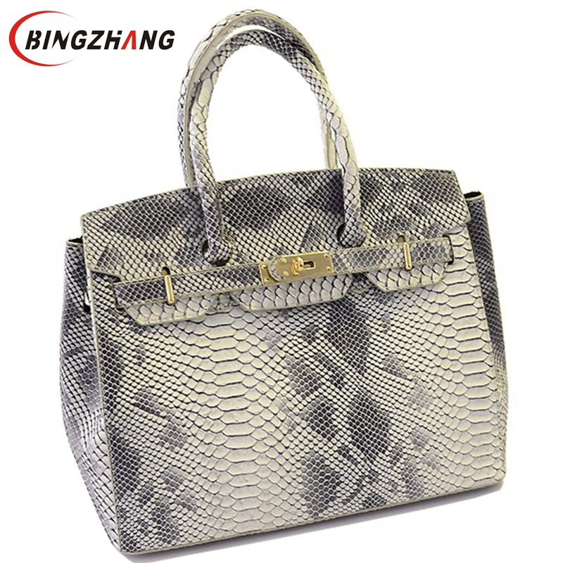 Brand fashion Snake skin bags Women Handbag 2018 New high quality women's messenger bags Designer Leather Shoulder Bag L4-788