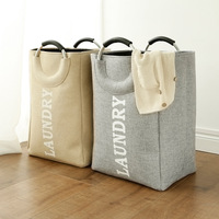 EVA Cotton linen Aluminum Handle Portable Folding Laundry Baskets Dirty Clothes Toy Quilt Shopping Organization Storage Bags
