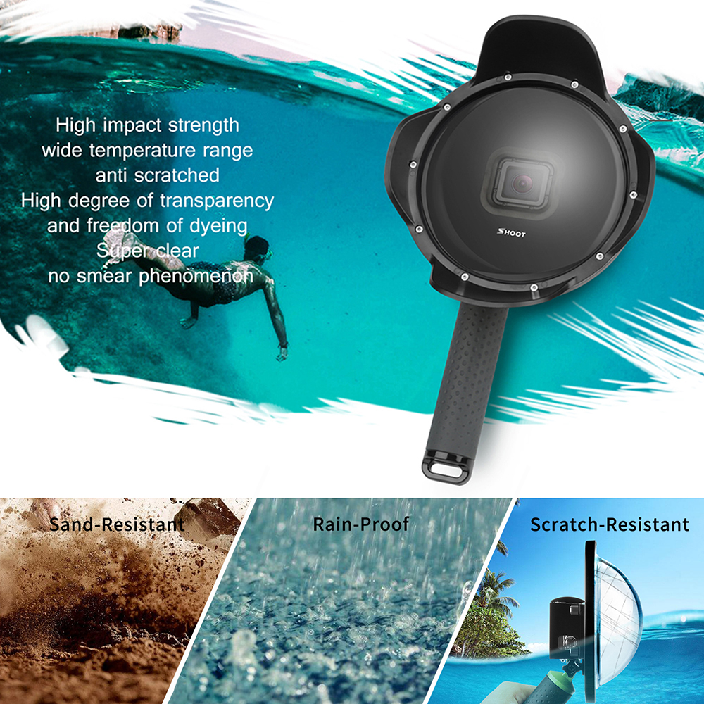 Image 4 - SHOOT Underwater Dome Port for GoPro Hero 7 6 5 Black with Float Grip Waterproof Case Sunshade Lens Dome Go Pro 6 5 7 Accessory-in Sports Camcorder Cases from Consumer Electronics