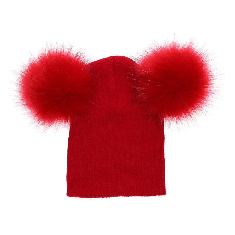 9b60dd17ba9 2018 Children Toddler Kids Baby Warm Winter Wool Knit Beanie Solid Fur Pom  Pom Bobble Hat Cap Winter Warm Hat