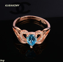 KJJEAXCMY Fine jewelry Fine  Natural Topaz ring 925 sterling silver plated rose gold sterling helon sterling silver 925 flawless 8mm round 2 4ct natural white topaz engagement wedding ring for women trendy fine jewelry
