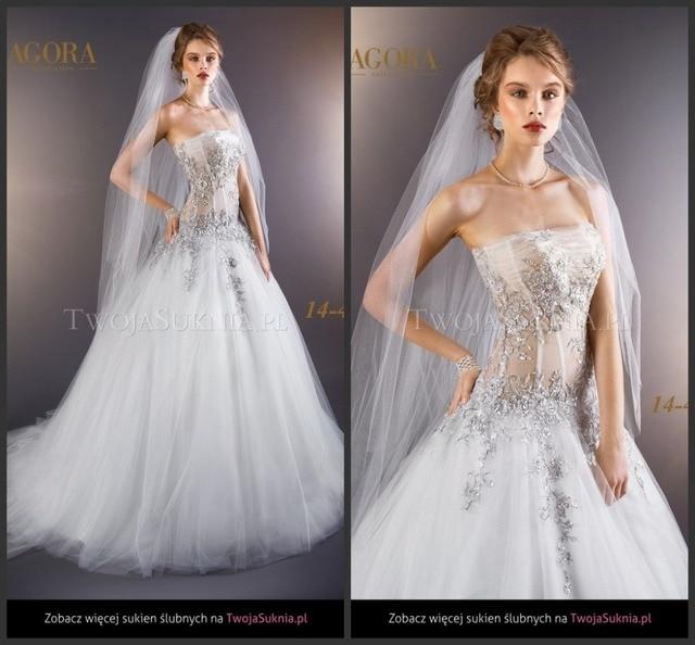 fba6b781c Vestidos de Boda blancos AG1440 Appliqued Con Cuentas de Plata vestido de  Talle bajo vestido de