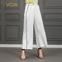 VOA свободные брюки большой Размеры Длинные повседневные штаны однотонные женские шелковые широкие брюки ноги дамы Lounge белые школьные плавк