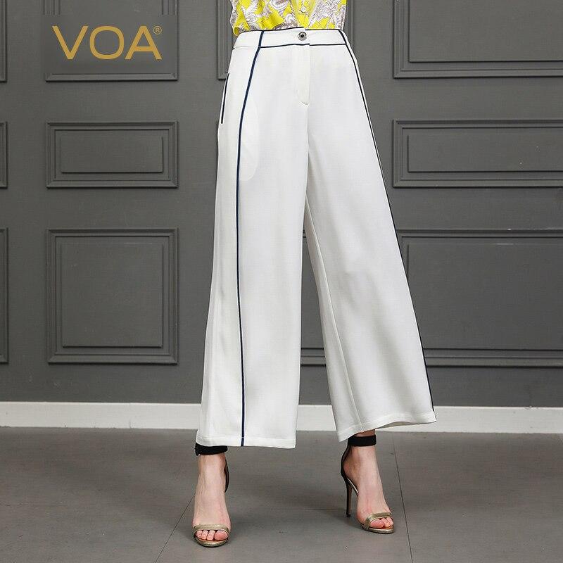 VOA Loose Palazzo Pants Big Size Long Casual Trousers Solid Woman Silk Wide Leg Pants Ladies Lounge White School Bottoms K807