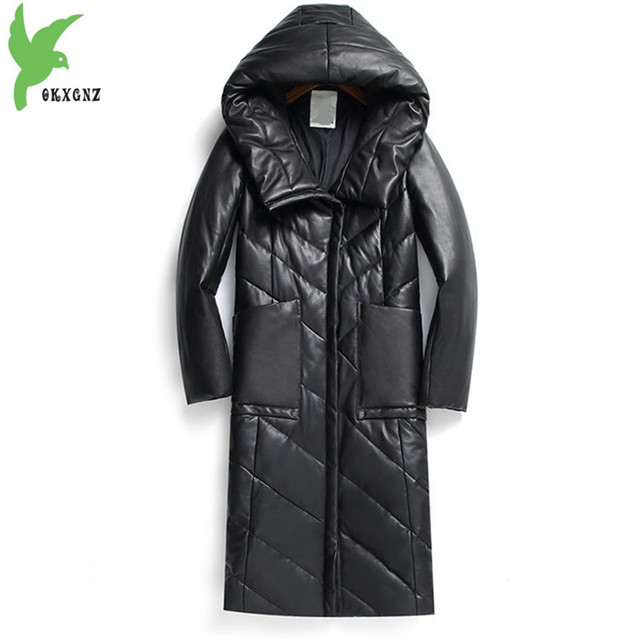 High quality Sheepskin Coat Women 2018 Winter Jacket Plus size S-8XL Hooded Top Thicken Warm Female Loose Natural Leather Coats