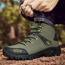 High Top Sneakers for Men Army Green Man Hiking Boots Plus Size 38-46 Mountain Shoes Sport Autumn Winter Trekking