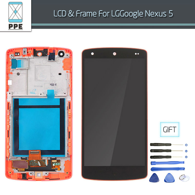For LG Google Nexus 5 D820 D821 LCD display Touch screen Digitizer Assembly with Frame Bezel+Tools Free shipping Black Red color new lcd display touch screen digitizer assembly for lg google nexus 5 d820 d821 black free shipping