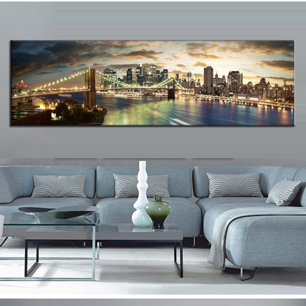 Delightful Super Large 1 PCS Wall Picture Single Living Room Wall Decorative Canvas  Painting The Brooklyn Bridge Canvas Painting In Painting U0026 Calligraphy From  Home ...