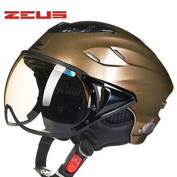 ZEUS open face motorcycle Helmets Summer Electric Bicycle Helmet Vintage Moto casco Anti UV lens Half face Motorbike helmet