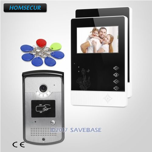 HOMSECUR 4.3inch TFT LCD Wired Video Door Intercom System Quality Night-Vision with Color Images 1V2