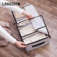 LRAOZOYM Cloth Art Washable Multifunction Transparent Shoe Box Underwear Cotton Linen Bed Bottom Storage
