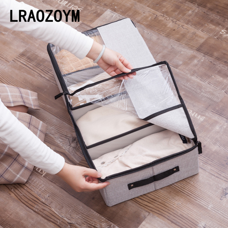 LRAOZOYM Cloth Art Washable Multifunction Transparent Shoe Box Underwear Cotton Linen Bed Bottom Storage