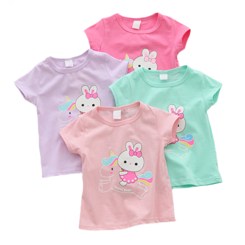 Baby Girl T Shirts Tops Cotton Shorts T-shirts 2019 Casual Baby Girl Summer Clothes Birthday Baby Girl Shirts Clothing