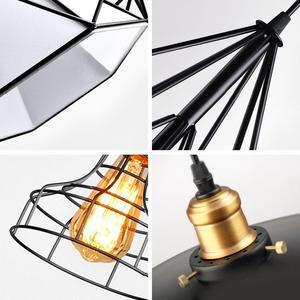 Image 3 - מודרני תליון אור שחור ברזל תליית כלוב בציר Led מנורת E27 תעשייתי לופט רטרו אוכל חדר מסעדה בר דלפק