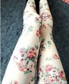5pcs/lot. Vintage rose flower elastic plus size legging doodle ankle length trousers