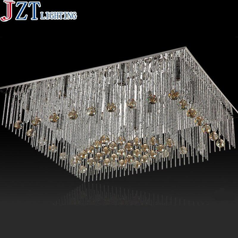 M moderne concis Led plafonnier cristal lampe L95 * W70cm E14 * 16 poids 20 kg rectangulaire cristal salon salle à manger Hetel lumière