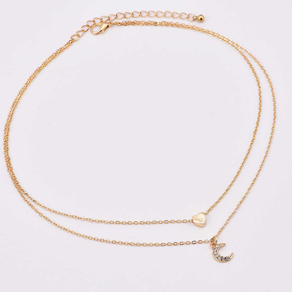 New Two Layer Gold Heart Pendant Necklace Trendy Crystal Moon Fashion Jewelry Boho Ethnic Retro Collar Short Chain Accessories