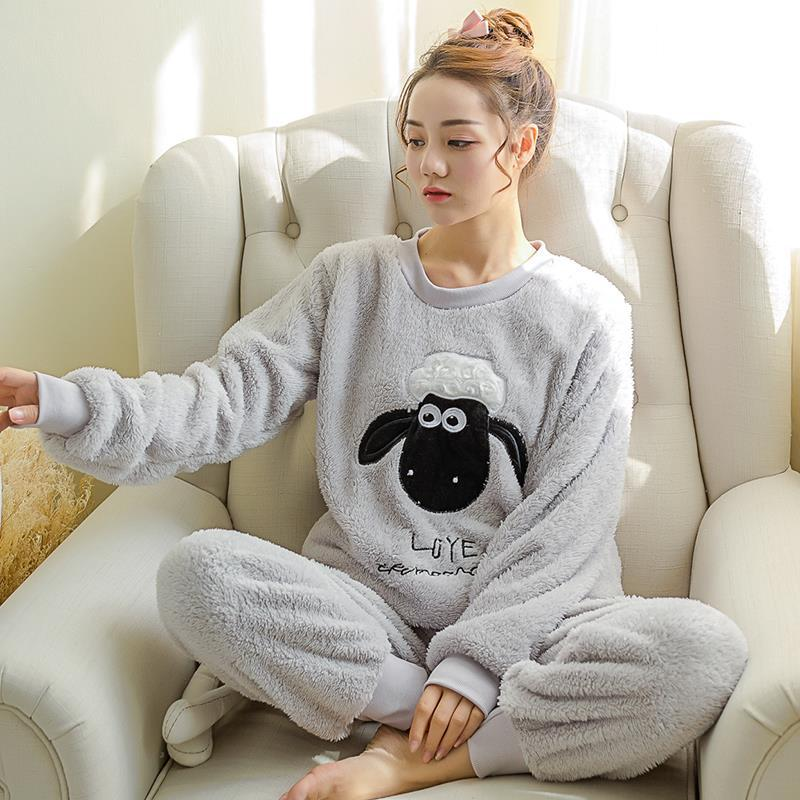 Newest Winter Thickened Pajamas Women Cute Cartoon Coral Fleece Pyjamas Home Furnishing Suit Coral Velvet Home Wear Leisure Wear