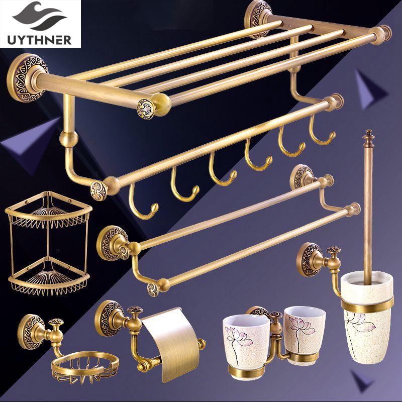 Uythner Neu Angekommene Kleinhandel-promotion Antike Messing Bad Dusche Zubehör Verkauf Auseinander oder Ganze