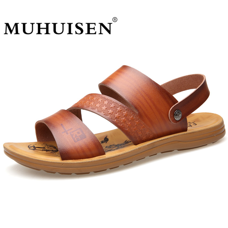 MUHUISEN Men Sandals 2018 New Fashion Summer Soft Leather Beach Sandals Brand Casual Shoes Flip Flops Male Slippers