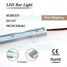 Aluminium U/V profile 0.5M LED luces strip 36leds 8520 led bar light for kitchen wardrobe jewelry showcase cold/warm white(China)
