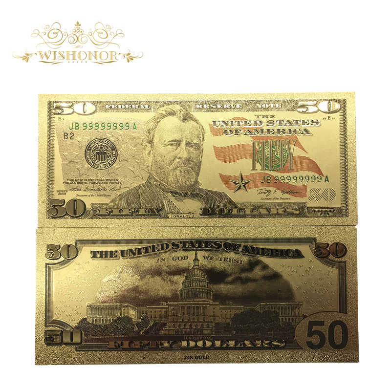 Wishonor 10Pcs/Lot Beautiful Color USA Banknote 50 Dollar Bills Banknote in  24k Gold Foil Paper Money For Collection And Gift