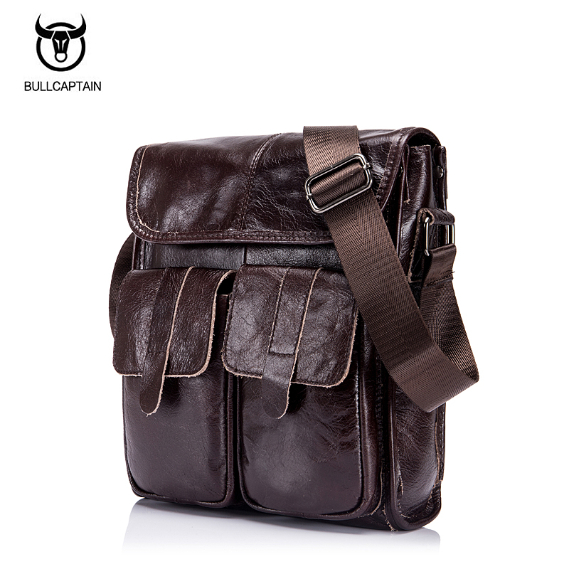 BULLCAPTAIN men's Genuine Leather Bags Men Messenger Bags Male Style Small Flap Casual Leather Shoulder Crossbody Bags Handbags genuine cow leather messenger bags flap casual men solid handbags famous brand small male shoulder crossbody bags