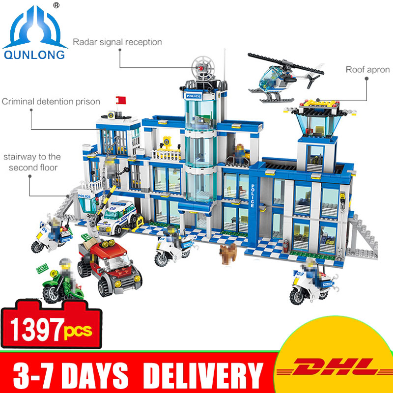 Qunlong 1397pcs Compatible Legoed Minecrafte City City Police Station Building Blocks Bricks Toys For Boy Girl Children Friends lepin city town city square building blocks sets bricks kids model kids toys for children marvel compatible legoe