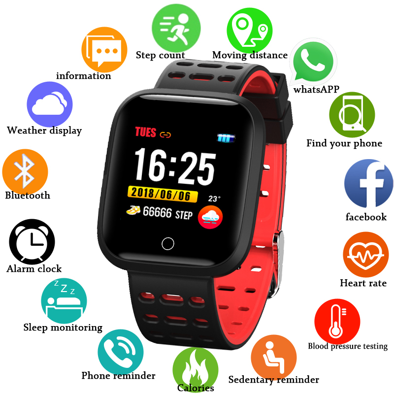 Pulseira esporte Inteligente IP68 Esfigmomanômetro Múltipla Modo Esporte Relógio À Prova D' Água Rastreador De Fitness Heart Rate Relógio Para IOS Android