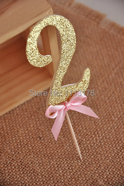 Birthday Decorations Glitter Gold Number Cupcake Topper Cake Custom