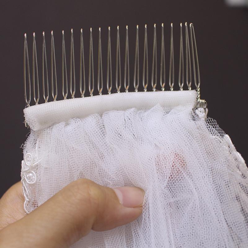 MERMAIDFUN New Elegant Lace Edge Short Wedding Veils with Comb 2018 Real Photos Bridal Veil for Bride 4