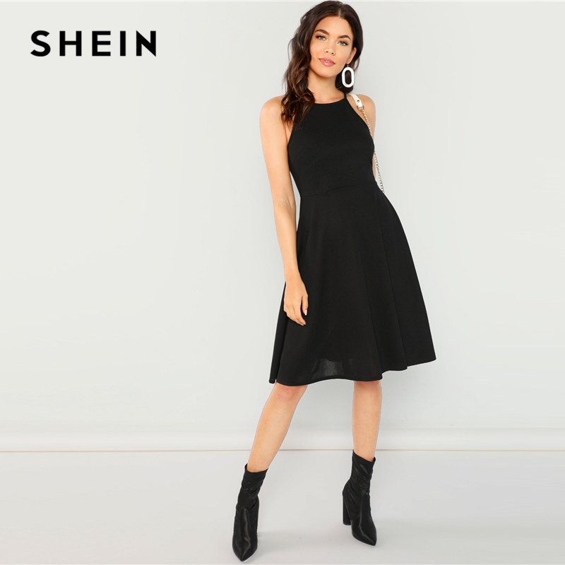 SHEIN Going Out Black Modern Lady Fit   Flare Solid Halter Knee Length Sleeveless  Dress Women 8fec6751223c