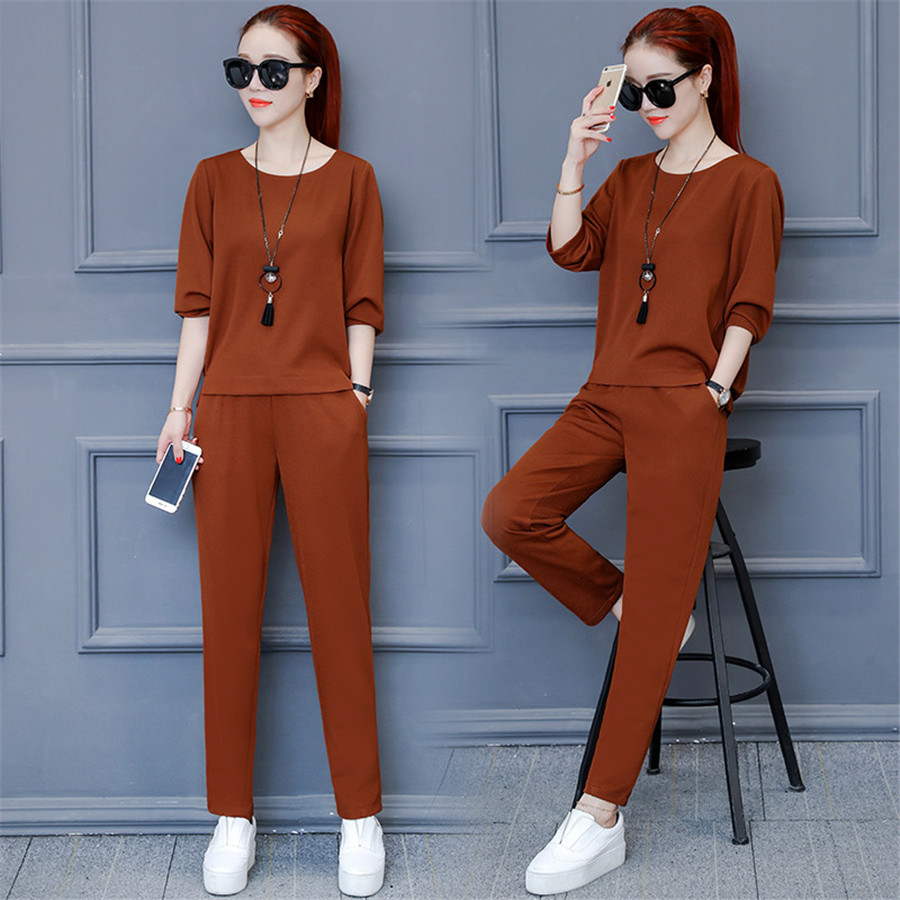 2019 2 Piece Set Women Plus Size Top And Pants Casual Outfit Sweat Suits Two Piece Sweatshirt Tracksuit
